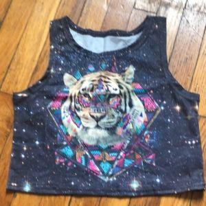 Iheartraves Tiger Universe Crop Top